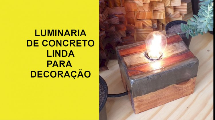 Luminária de concreto com luz negra