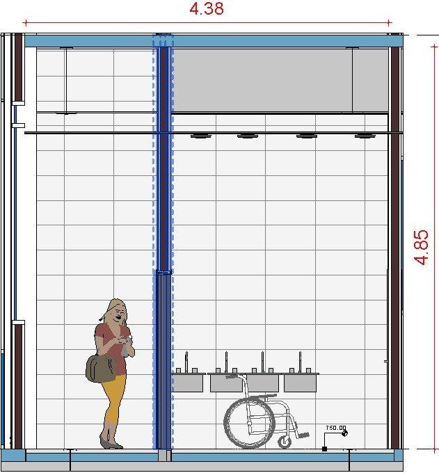Vista banheiro detalhado em corte