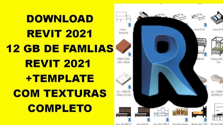 Revit 2021 + 12 GB de famílias revit + template + texturas