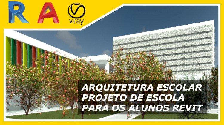 Arquitetura escolar projeto feito no Revit